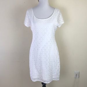 Isaac Mizrahi White Fitted Lace Dress
